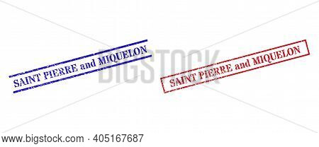 Grunge Saint Pierre And Miquelon Rubber Stamps In Red And Blue Colors. Stamps Have Distress Style. V