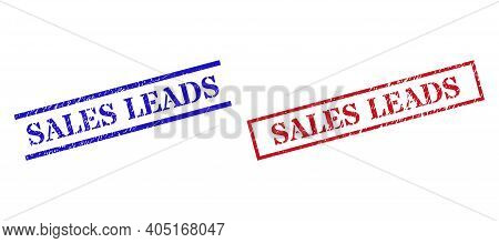 Grunge Sales Leads Rubber Stamps In Red And Blue Colors. Stamps Have Rubber Style. Vector Rubber Imi