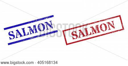 Grunge Salmon Rubber Stamps In Red And Blue Colors. Stamps Have Rubber Style. Vector Rubber Imitatio
