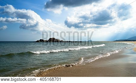 Beach With White Sand On Hainan Island, Sunny Weather, Summer Travel Vacation, Fluffy White Clouds I