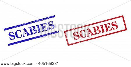 Grunge Scabies Seal Stamps In Red And Blue Colors. Stamps Have Rubber Style. Vector Rubber Imitation