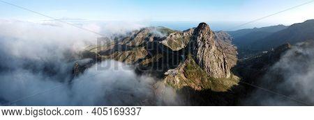 Panoramic Landscape, Roque De Agando, La Gomera, Canary Islands. High Quality Photo