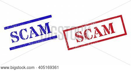 Grunge Scam Stamp Watermarks In Red And Blue Colors. Stamps Have Rubber Texture. Vector Rubber Imita