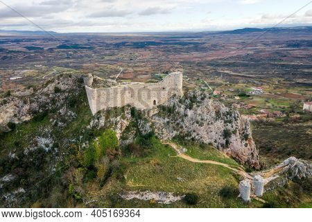 Aerial View Of Poza De La Sal Castle And Village In Burgos, Castile And Leon, Spain . High Quality 4