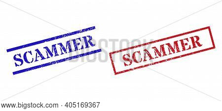 Grunge Scammer Rubber Stamps In Red And Blue Colors. Stamps Have Rubber Surface. Vector Rubber Imita