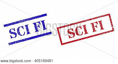 Grunge Sci Fi Rubber Stamps In Red And Blue Colors. Stamps Have Distress Style. Vector Rubber Imitat