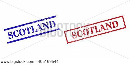 Grunge Scotland Stamp Seals In Red And Blue Colors. Seals Have Rubber Style. Vector Rubber Imitation