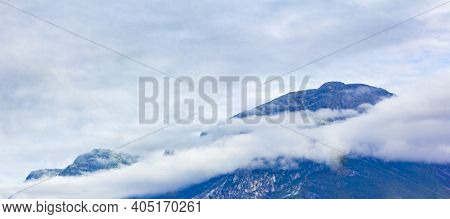 Fog Clouds Rocks Cliffs Mountain Landscape Jotunheimen National Park Norway.