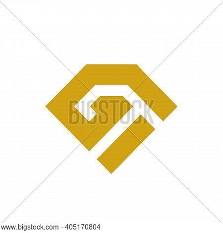 Initial Gi Diamond Logo, Luxury Letter Monogram, Sapphire Gemstone Symbol