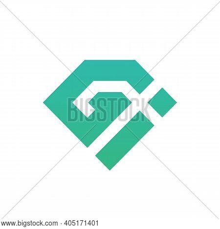 Letter Gi Logo Icon Design, Geometric Monogram - Vector