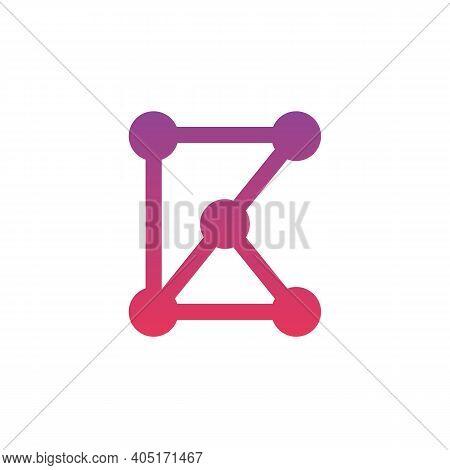 Letter B K Hub Connection Logo Design Template Elements, Digital Technology Concept