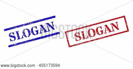 Grunge Slogan Seal Stamps In Red And Blue Colors. Seals Have Rubber Style. Vector Rubber Imitations
