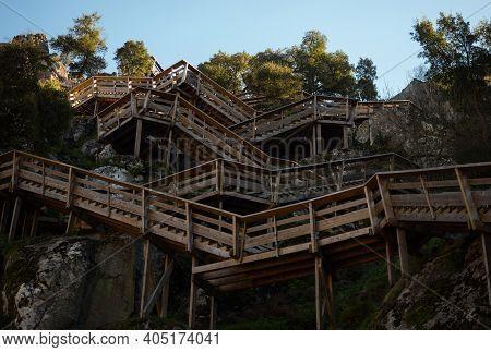 Aerial Panorama Of Wooden Walkway Zigzag Stairs Staircase Nature Hiking Trail Path Passadicos Do Pai