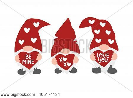 Valentines Day Vector Illustration Set. Valentine Gnome Isolated On White Background. Be Mine, Xoxo,