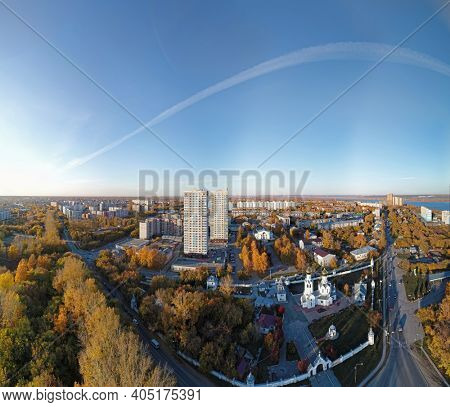 Aerial view of town Novosibirsk and Church of the Archangel Michael and Ioanno-Predtechenskiy monastyr'. Novosibirsk, Siberia, Russia