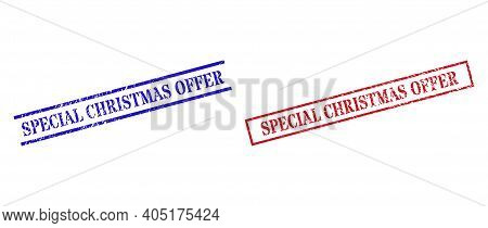 Grunge Special Christmas Offer Rubber Stamps In Red And Blue Colors. Stamps Have Rubber Texture. Vec