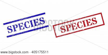 Grunge Species Rubber Stamps In Red And Blue Colors. Stamps Have Rubber Style. Vector Rubber Imitati