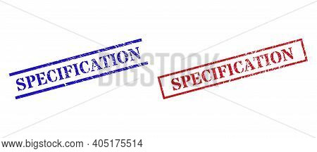Grunge Specification Seal Stamps In Red And Blue Colors. Stamps Have Rubber Style. Vector Rubber Imi