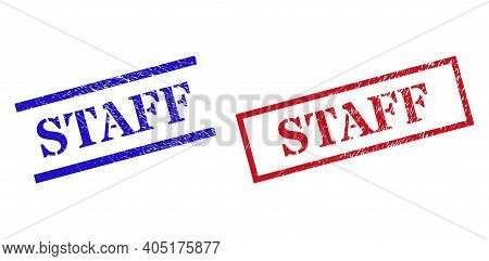 Grunge Staff Rubber Stamps In Red And Blue Colors. Stamps Have Rubber Style. Vector Rubber Imitation