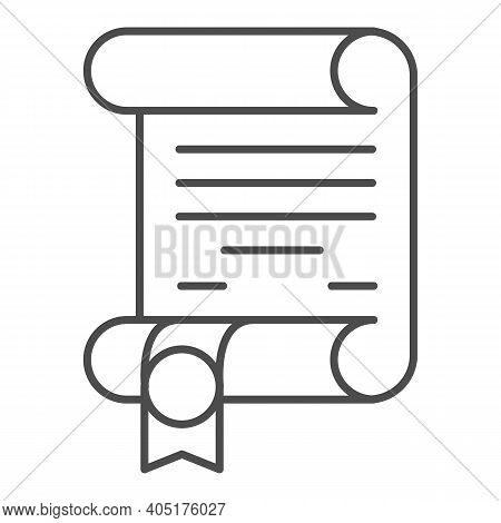 Antique Scroll With Ribbon Thin Line Icon, Fairytale Concept, Royal Decree Sign On White Background,
