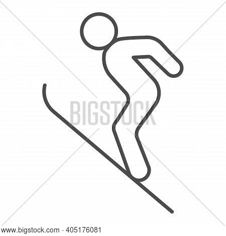 Flying Skier Thin Line Icon, Winter Season Concept, Ski Jumper Sign On White Background, Ski Jumping