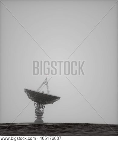 Giant Satellite Dish, Alien Environment. 3d Illustration With Clipping Path Included.