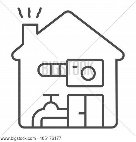 House Heating Thin Line Icon, Winter Season Concept, Domestic Heating Sign On White Background, Hous