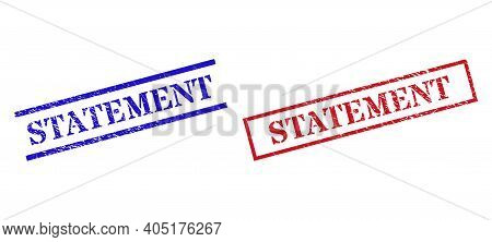 Grunge Statement Stamp Seals In Red And Blue Colors. Seals Have Rubber Style. Vector Rubber Imitatio