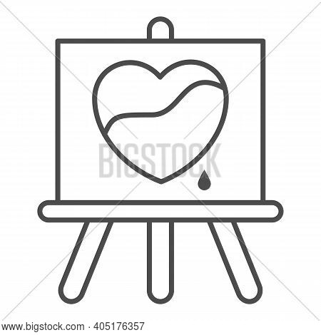 Painted Heart On Canvas Thin Line Icon, Valentines Day Concept, Wood Easel Sign On White Background,