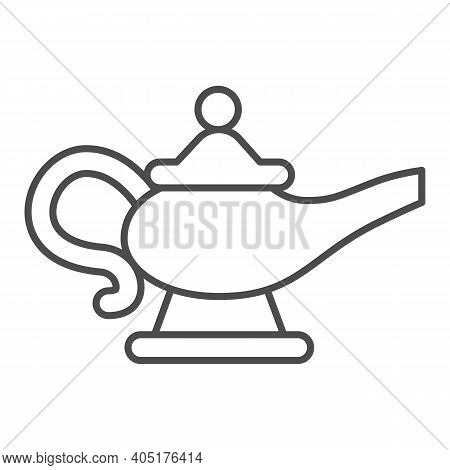 Magic Lamp Thin Line Icon, Fairytale Concept, Genie Lamp Sign On White Background, Watering Can With