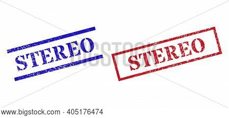 Grunge Stereo Rubber Stamps In Red And Blue Colors. Seals Have Rubber Texture. Vector Rubber Imitati