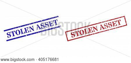 Grunge Stolen Asset Stamp Watermarks In Red And Blue Colors. Stamps Have Rubber Texture. Vector Rubb