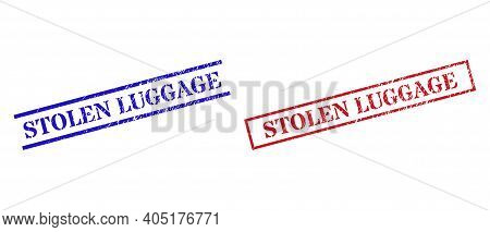Grunge Stolen Luggage Seal Stamps In Red And Blue Colors. Stamps Have Rubber Texture. Vector Rubber
