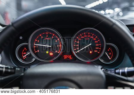 Novosibirsk, Russia - January 14 2021: Mazda 6,round Speedometer, Odometer With A Range Of 205 Thous