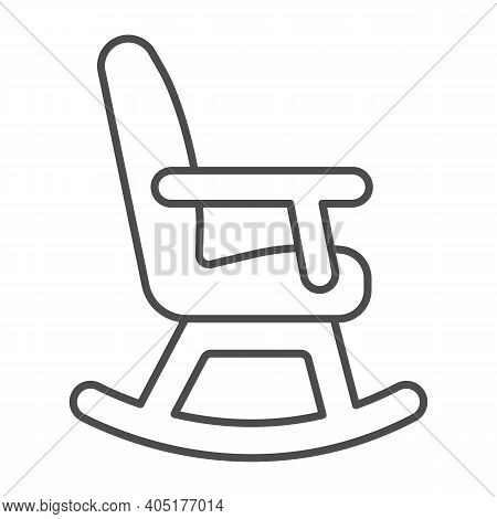 Rocking Chair Thin Line Icon, Winter Season Concept, Rocker Sign On White Background, Chair Rocking