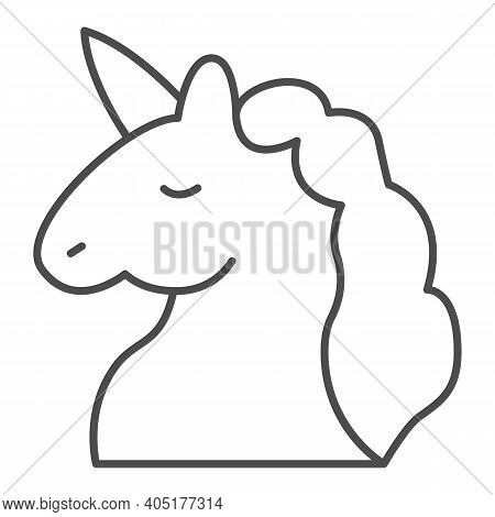 Unicorn Thin Line Icon, Fairytale Concept, Unicorn Head Silhouette Sign On White Background, Mythica