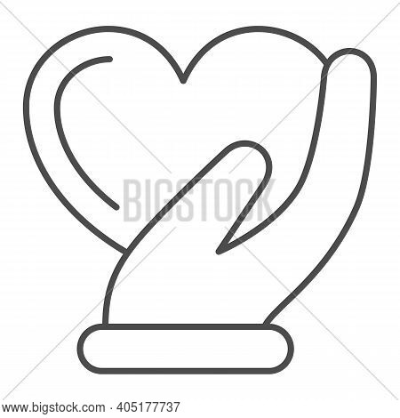 Heart In Gentle Hand Thin Line Icon, Valentines Day Concept, Heart Care Sign On White Background, Pa