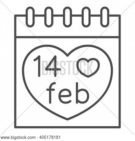Fourteen February On Calendar Thin Line Icon, Valentines Day Concept, Desk Calendar With Heart Sign