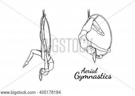 Aerial Female Gymnast Set. Aerial Gymnastics Strength Iproving Pose. Engraved Vector Illustration Is