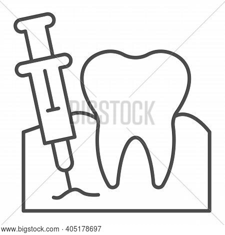 Tooth With Anesthesia Syringe Thin Line Icon, Injections Concept, Teeth Anesthesia Sign On White Bac