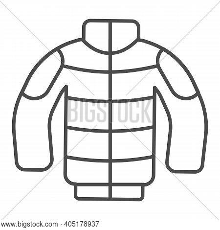Winter Jacket Thin Line Icon, Winter Season Concept, Winter Clothing Fashion Sign On White Backgroun