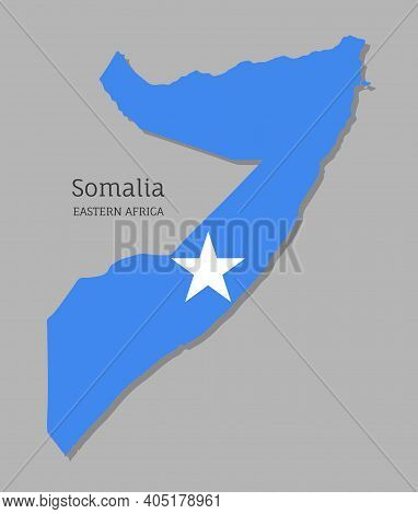 Map Of Somalia With National Flag. Highly Detailed Editable Somalian Map Of Eastern Africa Country T