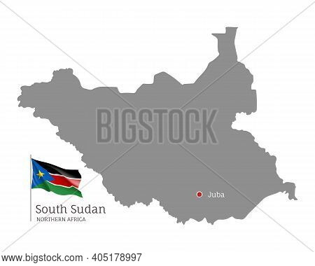 Silhouette Of South Sudan Country Map. Gray Editable Map With Waving National Flag And Juba City Cap