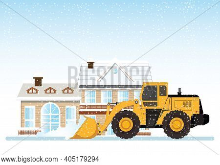 Cleaning Snow On The Streets With Snow Plow Truck Cleaning Snow Removal, Vector Illustration.
