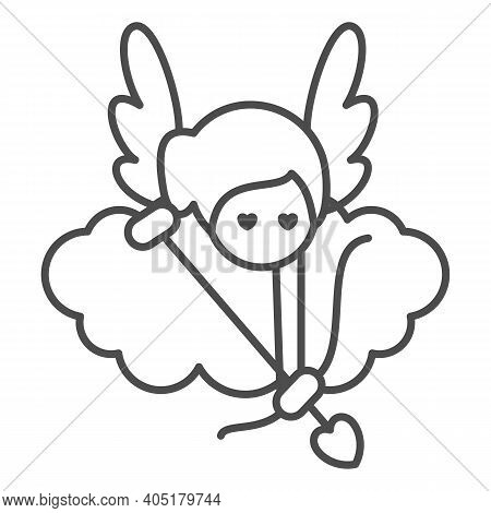 Angel With Arrow And Bow Thin Line Icon, Valentines Day Concept, Cupid With Target On Cloud Sign On