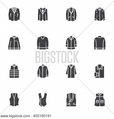 Men Clothing Vector Icons Set, Modern Solid Symbol Collection, Filled Style Pictogram Pack. Signs, L