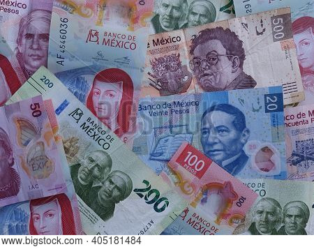 Mexican Banknotes Of Different Denomination Unorganized, Background And Texture