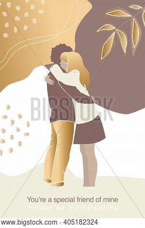 Vector Valentine's Day Card, Story Or Poster, Abstract Couple Shapes And Silhouette In Gold Colour.