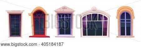 Cartoon Windows Set, Vintage Glasses With Stone Frames, Windowsill And Curtains Inside, Retro Style