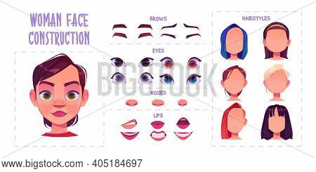 Woman Face Construction, Avatar Creation With Different Head Parts Isolated On White Background. Vec